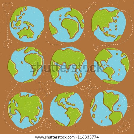 Seamless Earth globes vector pattern - stock vector