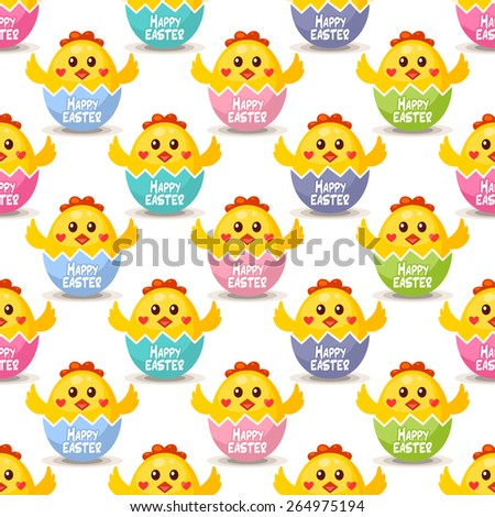 Seamless Easter background with chicks in Easter eggs - stock vector