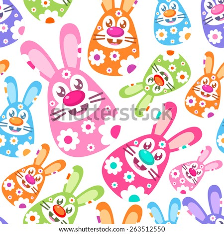 Seamless Easter background with Eastern egg shaped bunnies - stock vector