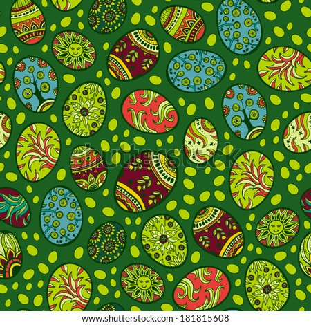 Seamless Easter Eggs Background, Vector Version. Green spring pattern - stock vector