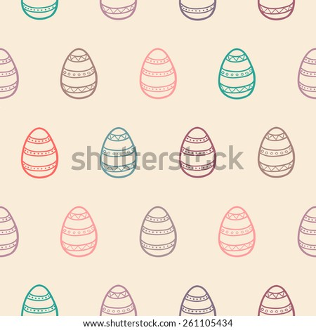 Seamless Easter eggs pattern in pastel tones/ Perfect background for greeting cards and wrapping/ Hand drawn vector illustration  - stock vector