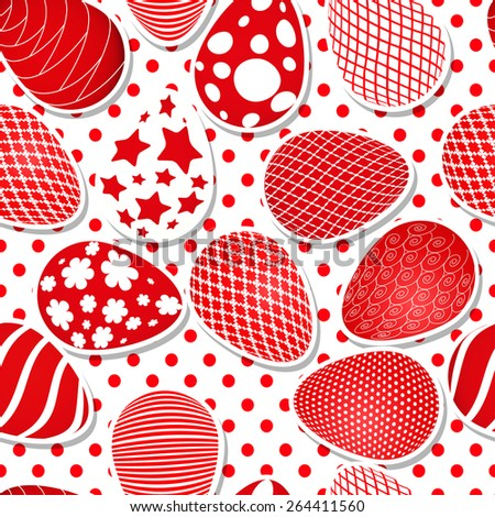 seamless Easter pattern and egg  - stock vector