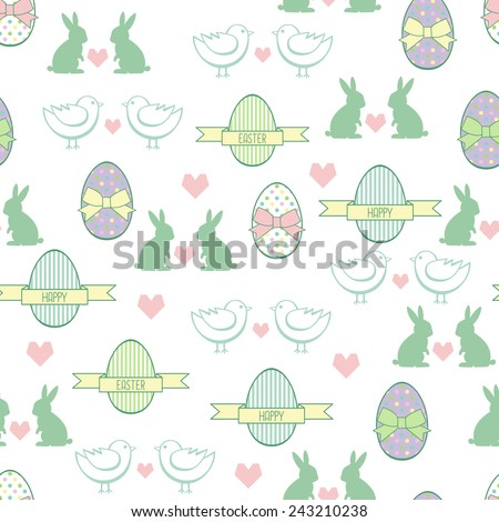 Seamless Easter pattern, card.  Vector background with Easter Bunny, chicks, decorative eggs, hearts and bows. - stock vector