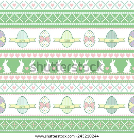 Seamless Easter pattern, card. Vector background with Easter Bunny, decorative eggs, hearts and bows. - stock vector