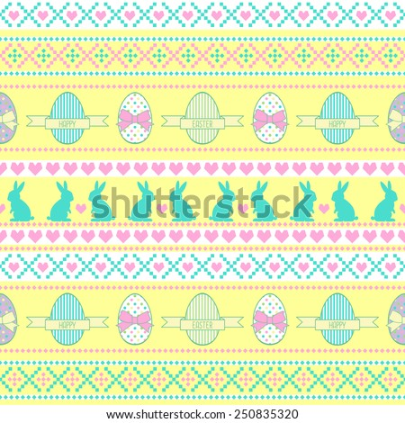Seamless Easter pattern, card. Vector background with Easter Rabbit, decorative eggs, hearts and bows. - stock vector
