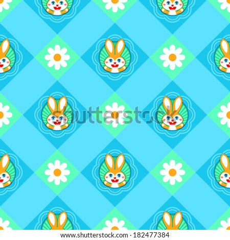 Seamless Easter pattern with bunnies and daisies on green gingham - stock vector