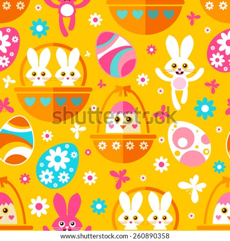 Seamless Easter pattern with cute Easter bunnies, chicks, eggs, butterflies and flowers - stock vector