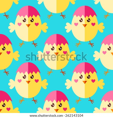 Seamless Easter pattern with cute yellow chicks and egg shaped cap - stock vector