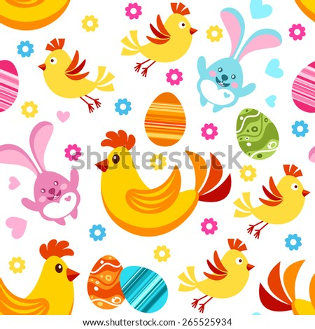 Seamless Easter pattern with Easter design elements. Easter chicks, bunnies, chickens and eggs. - stock vector
