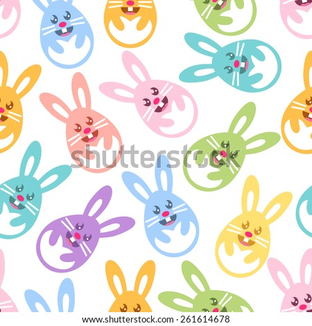 Seamless Easter pattern with egg shaped colorful bunnies - stock vector