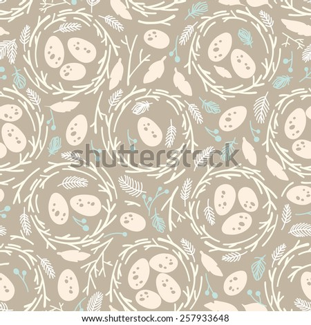 Seamless easter pattern with nests - stock vector