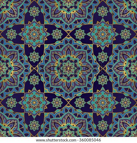 seamless eastern pattern mandalas on dark stock vector