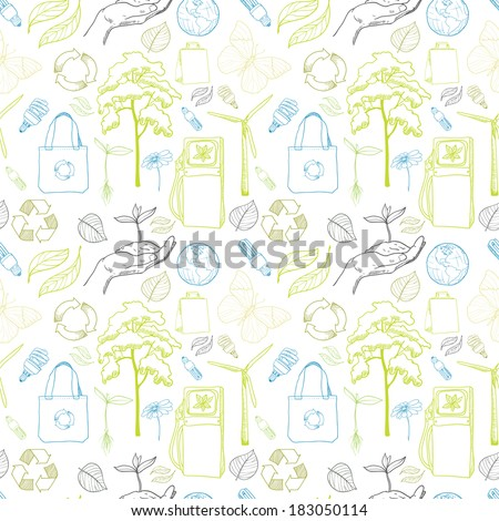 Seamless ecology and environment drawing pattern background with leaf tree bulb and gas vector illustration - stock vector