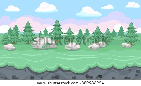 Seamless editable horizontal forest background with fir trees and stones for video game