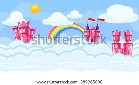 Seamless editable horizontal heavenly background with pink castles and clouds for video game - stock vector