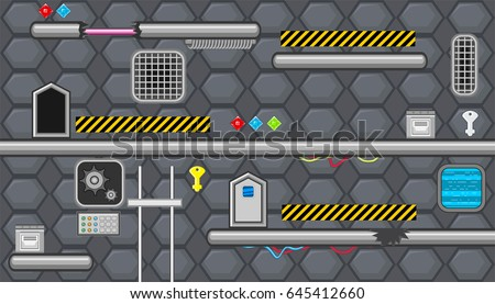 Seamless editable horizontal indoor background with caution tape and elevator for platform game