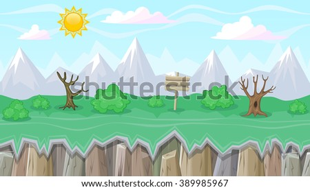 Seamless editable mountainous horizontal background with bushes and dead trees for video game