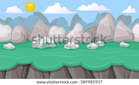 Seamless editable mountainous horizontal background with round stones and cliffs for video game