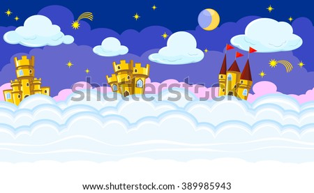 Seamless editable night cloudscape with golden castles for game design