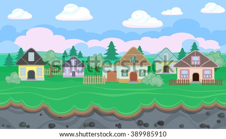 Seamless editable rural horizontal background with houses for video game - stock vector