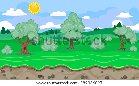 Seamless editable rural horizontal background with trees for video game