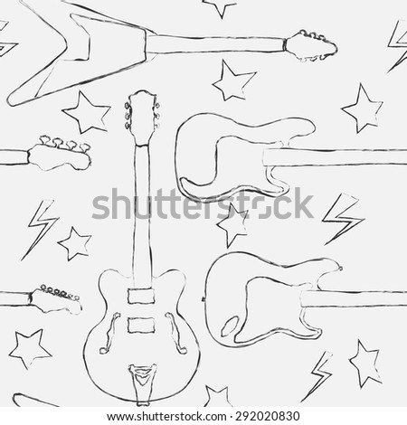 Seamless electric guitar and bass guitar sketch pattern  - stock vector