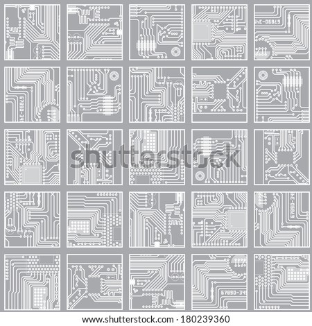 Seamless electronic pattern. Computer circuit board technology vector background eps8 - stock vector