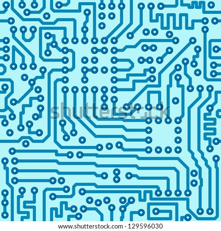 Seamless electronics technology pattern - repeating digital blue vector circuit board pattern - stock vector