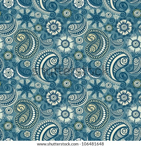 Seamless elegant paisley pattern-model for design of gift packs, patterns fabric, wallpaper, web sites, etc. - stock vector