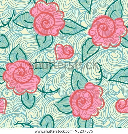 Seamless elegant rose pattern-model for design of gift packs, patterns fabric, wallpaper, web sites, etc. - stock vector