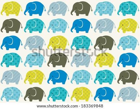 seamless elephant animal cartoon - stock vector