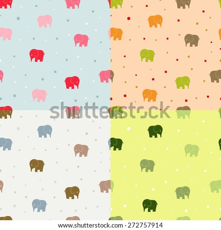 Seamless  elephant kids pattern wallpaper background in vector - stock vector