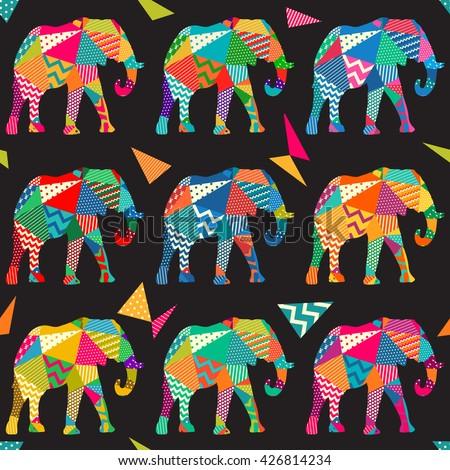 Seamless elephant kids pattern wallpaper background in vector - stock vector