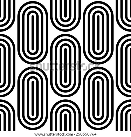 Seamless Ellipse Pattern. Vector Black and White Background - stock vector