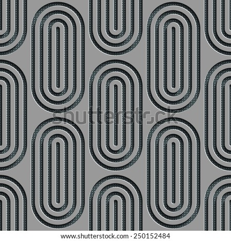 Seamless Ellipse Pattern. Vector Gray Background - stock vector