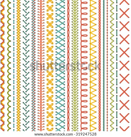 Seamless embroidery pattern. Vector high detailed colourful stitches on white background. Boundless background. - stock vector