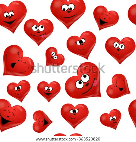 Seamless emotion hearts pattern on white - stock vector