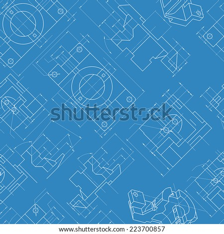 Seamless engineering background. Parts drawings Vector