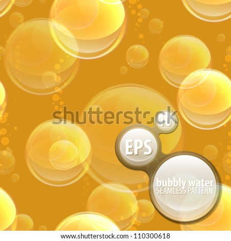Seamless eps10 vector pattern background texture made of under water champagne, beer or fizz bubbles - stock vector