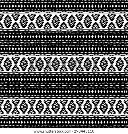 Seamless ethnic background. Black and white. Ornament handmade. Tribal motifs. Striped pattern. Geometric pattern. - stock vector