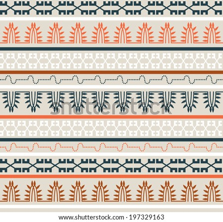 Seamless ethnic elements pattern. Tribal abstract ornament. Soft colors. Background pattern. Vector EPS8, all elements are grouped by colors. Drop pattern into your AI swatches and use as fill.