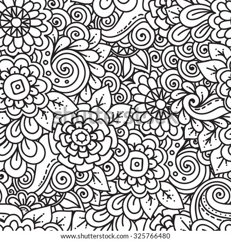 Seamless ethnic floral doodle black and white background pattern in vector. Henna paisley mehndi tribal doodles design. Pattern for coloring by kids and adults. - stock vector