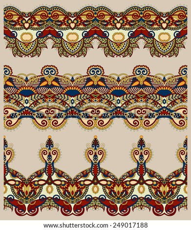 seamless ethnic floral paisley stripe pattern, border set, Ukrainian tribal ornament for print or embroidery ribbon, or for the design in beige colour - stock vector