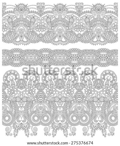 seamless ethnic floral paisley stripe pattern, border set, Ukrainian tribal ornament for print or embroidery ribbon, or for the design of polygraphy in black, vector illustration - stock vector