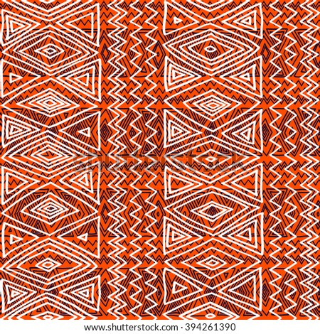 Seamless ethnic geometric pattern.  Black, orange and white graphics, diamonds, triangles and zigzags, folk motives, hand drawn background. - stock vector