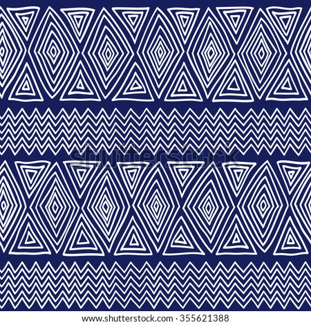 Seamless ethnic geometric pattern. Blue and white graphics, diamonds, triangles and zigzags on a white background, folk ethnic motives. - stock vector
