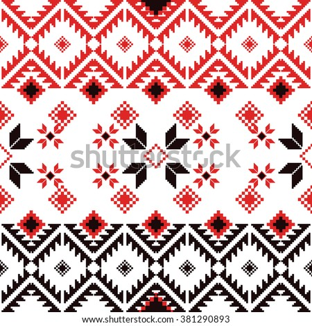 Seamless ethnic geometric pattern. Folklore rug pattern. Eastern European folklore rug pattern.