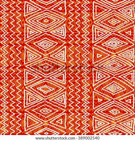 Seamless ethnic geometric pattern.Orange and white graphics, diamonds, triangles and zigzags on a white background, folk motives. - stock vector