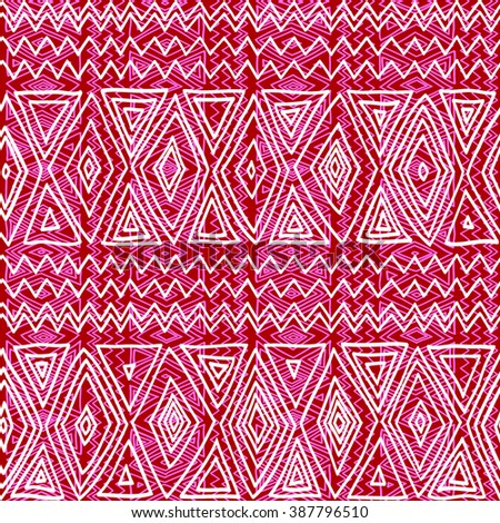 Seamless ethnic geometric pattern. Red and white graphics, diamonds, triangles and zigzags on a white background, folk motives. - stock vector