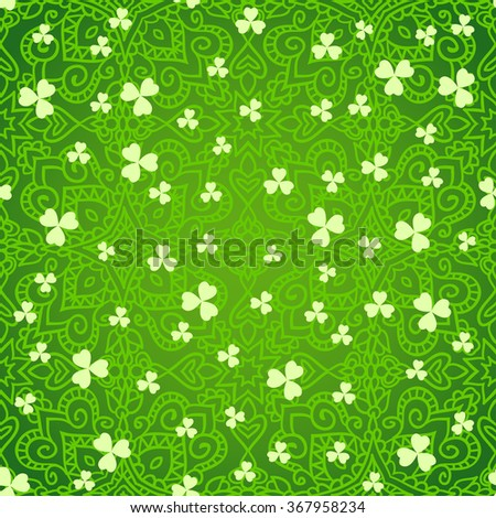 Seamless ethnic green St. Patrick's day background with clover leaves. - stock vector